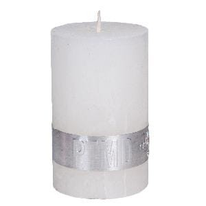 Rustic Hot White pillar candle 8x5