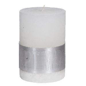 Rustic Hot White pillar candle 10x7