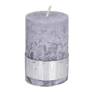 Rustic Suede Grey pillar candle 6x4