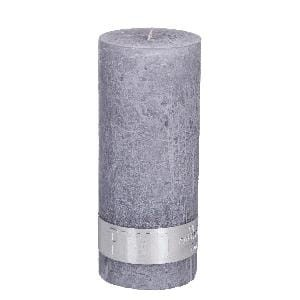 Rustic Suede Grey pillar candle 12x5
