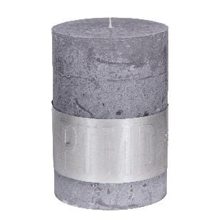 Rustic Suede Grey pillar candle 10x7