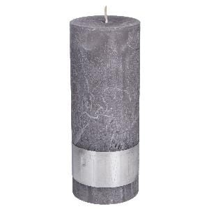 Rustic Suede Grey pillar candle 18x7