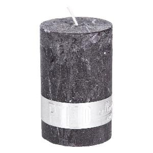 Rustic Charcoal Black pillar candle 8x5