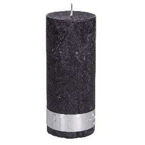 Rustic Charcoal Black pillar candle 12x5