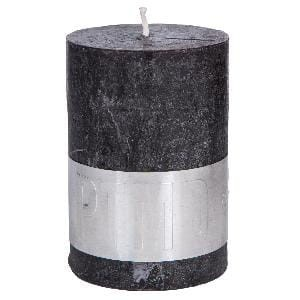 Rustic Charcoal Black pillar candle 10x7