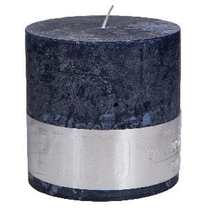 Rustic Night Blue block candle 10x10